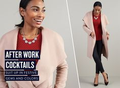 Stitch Fix Stylist I Love the red shirt and skinny black pants and the pink coat/wrap mellows out the stark black and red
