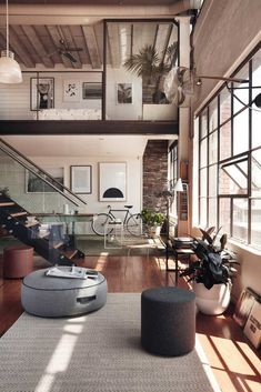 Inspired Image of Loft Home Design. A great deal of lofts have brick walls and therefore it could be somewhat difficult to hang any form of picture or mirror. A loft is not going to have. Home Interior Design, Interior Architecture, Interior Ideas, Luxury Interior, Exterior Design, Interior Designing, Interior Modern, American Interior, Luxury Loft