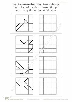 """In the """"Memory Blocks Designs 4x4"""" worksheets, the student must remember the block design on the left so that they can copy it to the open box on the right when the design is no longer visible. Learning For Life, Visual Learning, Kids Learning, Worksheets, Relationship Games, Therapy Games, Visual Memory, Vision Therapy, 4x4"""