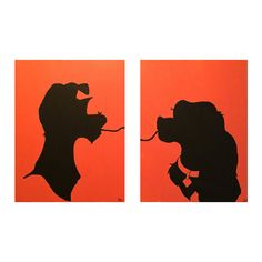 Disney's Lady and the Tramp Silhouette Canvas Set
