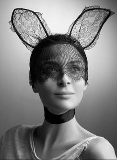 Bunny ears with lace mask by Maison Michel