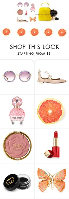 """#MISS GRACEY COLLECTION# JELLY BAG"" by yunshi-ye on Polyvore featuring Miu Miu, Aquazzura, Marc Jacobs, Milani, Estée Lauder and Gucci"