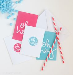 Imprimible notas Oh hey! >> Free Printable Note Cards by Design Eat Repeat