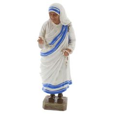 With a rosary in hand and the traditional blue and white sari draped over her, the humble servant, Saint Mother Teresa of Calcutta, is beautifully captured in this decorative statue.