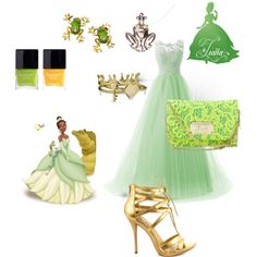 Tiana by thefrugal-fashionista on Polyvore featuring polyvore, fashion, style, Shoe Republic LA, Bling Jewelry, Betsey Johnson, Butter London, Disney, disney, Disneyprincess, theprincessandthefrog and disneycharacter