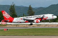 AirAsia (MY) Airbus A320-216 9M-AHJ aircraft, painted in ''BIG Loyalty Scheme-Earn BIG Points and fly free'' special colours Mar. 2014, landing at Thailand Chiang Mai International Airport. 06/06/2015.