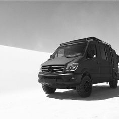 Mercedes 4x4 Sprinter exploring the White Sands in New Mexico.   #aluminess roof rack and ladder