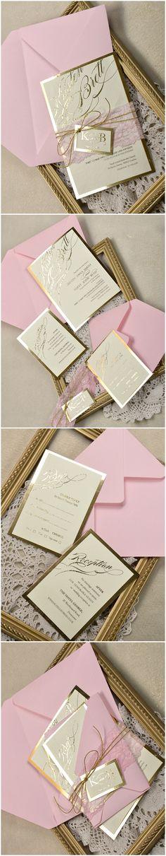 Gold & Pink Elegant Wedding Invitations #gold #elegant #pink #lace #romantic #weddinginvitations #goldwedding #glamorous