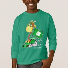 Mr. Lucky. Funny Giraffe Design St. Patrick's Day Gift Baby Bodysuits, T-Shirts and Sweatshirts for kids. Matching cards and other products available in the Holidays / St.Patrick's Day Category of the Mairin Studio store at zazzle.com