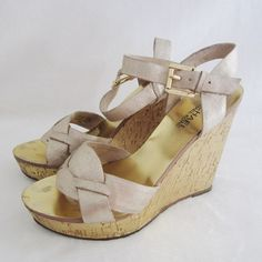"""️✂️PRICE CUT✂️Michael Kors Gold Wedge Sandal Shoes % Authentic Michael Michael Kors Gold Wedge Sandal Shoes. Size 6.5 true size. Pre-owned in good condition. Inner soles has major issues of fading. Back of the right wedge heel is dirty. I tried cleaning it but failed. Please see pictures carefully before buying. Heel height - 4.5"""". Sold as is! ❌TRADE❌SWAP ✔️15%OFF on Bundles. Message me if you have any questions. All sales are final. Thanks for looking. MICHAEL Michael Kors Shoes Wedges"""