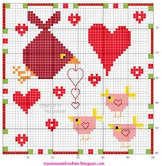 mausimom's Vogel-Freebies: Mothers Love  valentine * free cross stitch