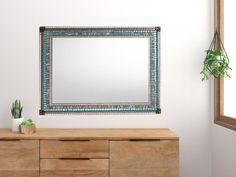 Large Mosaic Mirror Gray Copper Aqua Mosaic Mirrors, Glass Mosaic Tiles, Green Street, Aqua Glass, Copper Accents, Gray, Home Decor, Grey, Interior Design