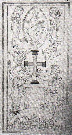 Knud den Store og hans dronning Emma skænker et gyldent alterkors til kirken New Minster i Winchester. Knuds højre hånd holder om korset, den venstre om sværdet. Kongeparrets navne er skrevet ved deres hoveder. Over dronningens står Ælfgyfu, som var hendes Engelske navn. Tegning på pergament i kirkens mindebog over venner og velgørere, Liber Vitae,som formentlig blev påbegyndt i 1031. Den er det eneste samtidige billede af Knud.