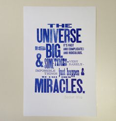 Letterpress Doctor Who Quote Poster