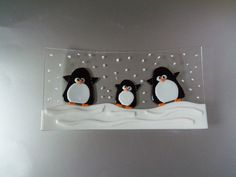 Penguins Fused Glass Dish Fun and Functional by LanieMarieDesigns, $55.00