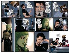 That time Tony Stark romanced Gamora... (Marvel art by ...