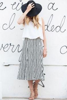 crop top, striped skirt, fedora...