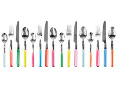 Present time Assorted Colors Indian Summer Cutlery Set, Set of 16 by Present Time co, --- kitchen Kitchen Cutlery, Flatware Set, Kitchen Dining, Kitchen Goods, Promotional Clothing, Up House, Indian Summer, Dot And Bo, Corporate Gifts