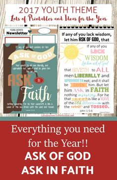 2017 LDS Youth Mutual Theme Ask of God Ask in Faith. Lots of PRintables and Ideas for the year!!