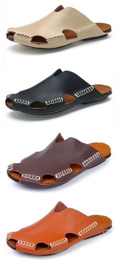 7262d2118bd71 Men Stitching Holow Out Soft Sandals Breathable Backless Loafers