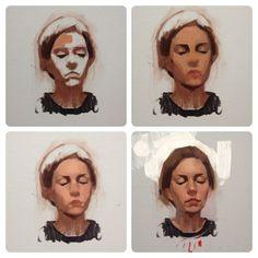 Oil painting process, by Felicia Forte Painting & Drawing, Painting Process, Oil Painting Abstract, Figure Painting, Matte Painting, Drawing Tips, Portraits Illustrés, Portrait Images, Oil Portrait
