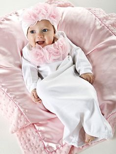 White/ Pink Rosette Baby Sack with Beanie (who cares what she's wearing, she's just freaking adorable)