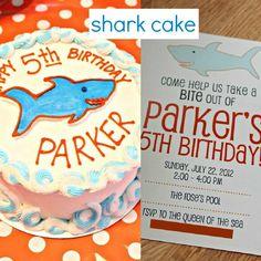 Birthday Cake and Invitation - Shark Birthday Party