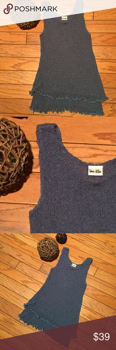 "Beautiful sweater tank Gorgeous Steel blue double layer loose-knot sweater tank with cute lettuce edge hem. No size in tag - measures 12"" across the chest and can stretch comfortably to 18"". Approximately 25"" long. Polyester. Van Klee Tops Tank Tops"