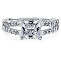 BERRICLE Sterling Silver Princess CZ Solitaire Engagement Wedding... (52 CAD) ❤ liked on Polyvore featuring jewelry, rings, clear, split shank ring, sterling silver, women's accessories, sterling silver band rings, solitaire wedding rings, cz wedding rings and anniversary rings