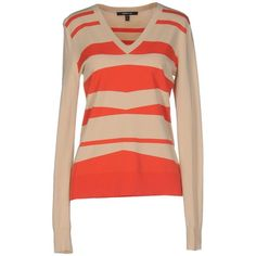 Derek Lam Jumper ($210) ❤ liked on Polyvore featuring tops, sweaters, sand, v neck sweater, long sleeve tops, v neck tops, red striped top and red v neck sweater