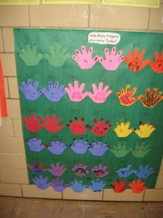 Counting by fives--How many fingers are here today? Preschool Math, Teaching Kindergarten, Math Classroom, Math Activities, Teaching Ideas, Classroom Ideas, Classroom Organization, Teaching Resources, Math For Kids