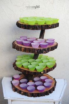 Items similar to Rustic 4 tiered custom wood tree slice cupcake stand for wedding or party - Large Size on Etsy Cupcake Stand Wedding, Cake And Cupcake Stand, Wedding Cake Stands, Wedding Cakes, Wooden Cupcake Stands, Country Wedding Decorations, Rustic Weddings, Wedding Rustic, Table Decorations