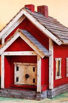 folk art red schoolhouse