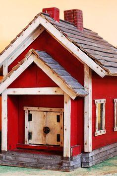 folk art red schoolhouse