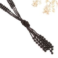 """Vintage Style Charcoal Black Long Multitier Beaded Womens Necklace Jewelry (Long - 31"""") Style Vintage, Vintage Fashion, Black Necklace, Jewelry Necklaces, Charcoal Black, Handmade Jewelry, Hair Accessories, Beauty, Women"""