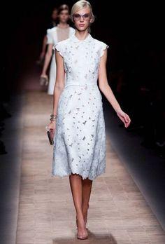 Elegant tea-length high neck short dress in white color modest style TBML 350