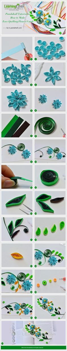 Tutorial on how to make easy Quilling flower cards - Quilled Paper Art Quilling Instructions, Paper Quilling Tutorial, Paper Quilling Patterns, Quilled Paper Art, Quilling Paper Craft, Quilling Designs, Paper Beads, Diy Paper, Paper Crafts