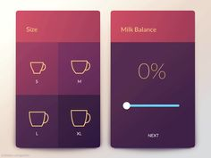 This is how you make your personal coffee with a coffee machine app. I've designed an interface that allows you to choose your cup size your favourite milk type and also to adjust the milk balance... #userinterfacedesign
