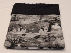 Halloween Scene Witches Vampire Haunted House Custom Minky Baby Blanket by www.SnuggleBugZZZ.etsy.com