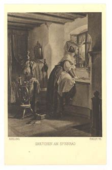 Kreling. Faust VII Gretchen at the Spinning Wheel. Verso: A Signet 1967 Fr A. Ackermann's Art Publishers, Munich.. Series 167: A. v. Kreling. Goethe's Faust