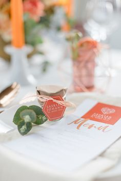 Papeterie Hochzeit Orange Save The Date Karten, Place Cards, Place Card Holders, Orange, Pink, Paper Mill, Kraft Paper, Renting, Invitations
