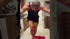Big swole guy crushes watermelon between legs for fun I guess