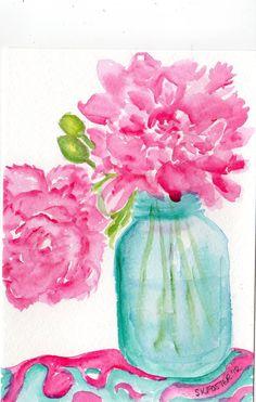popular watercolor flower & mason jars - Google Search