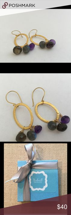 "Gold hoops amethyst, labradorite, smoky quartz. Beautiful and lightweight gold hoops hold a cluster of three wire wrapped stones in deep gray and purple. Earrings dangle approximately 1.5"". Bidwell Designs Jewelry Earrings"