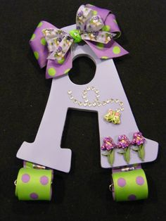 Hair Bow Holder Letter A Light Purple Ref A7 by dragonflyfyre. $18.00 USD, via Etsy.