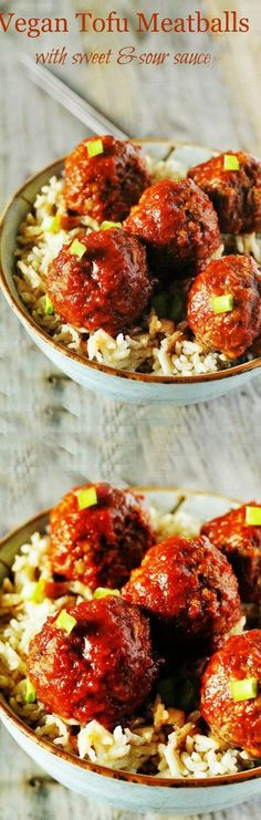 Vegan Tofu Meatballs with Sweet and Sour Sauce