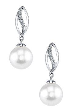 18K White Gold 9mm White Freshwater Pearl & Diamond Earrings