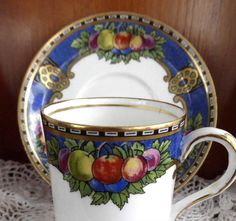 Jewel Color Fruit Demitasse Cup And Saucer 1930s Somerset Hughes Staffordshire Demi Coffee Espresso