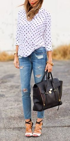 Black and white polkadot shirt with distressed denim