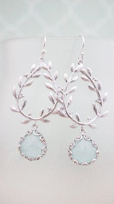Earrings delicate silver laurel branch and icy by VerdigrisGifts, $25.00